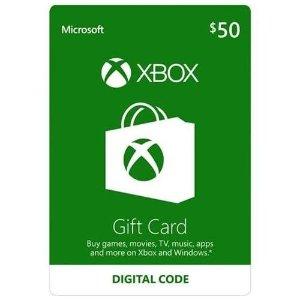 $40 (原价$50)Microsoft Xbox $50礼卡 Email配送