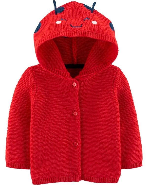 婴儿针织瓢虫连帽外套