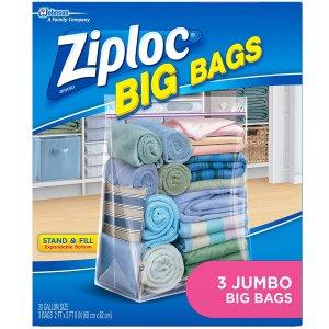 $5.52Ziploc Storage Bags, Double Zipper Seal & Expandable Bottom, Jumbo, 3 Count, Big Bag