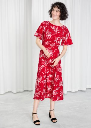 Belted Floral Midi Dress - Red - Midi dresses - & Other Stories