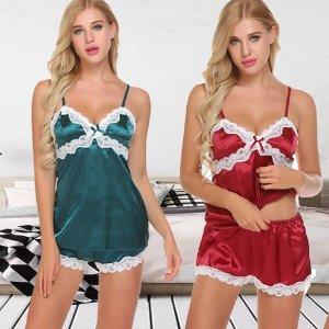 $9.99 四色选 做个睡美人Avidlove 绸缎吊带睡衣套装 给你舒适好梦