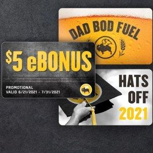 Get $5 eBounusBuffalo Wild Wings $30 Gift Card Limited Time Offer