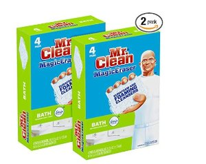 Amazon.com: Mr. Clean Magic Eraser Bath, Cleaning Pads with Durafoam, Meadows & Rain,4 Count (Pack of 2): Home & Kitchen