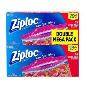 Ziploc 滑动封口食物保鲜袋,150个