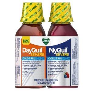 $16.94 家庭必备Vicks NyQuil and DayQuil 感冒液体糖浆莓果味 2瓶