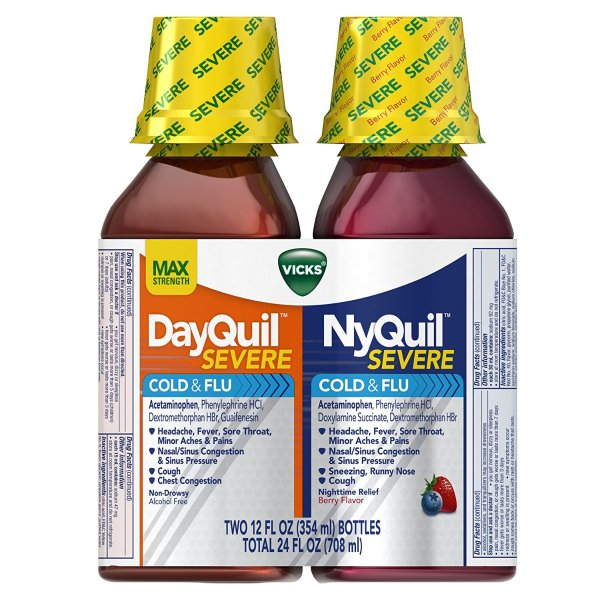 NyQuil and DayQuil 感冒液体糖浆莓果味 2瓶