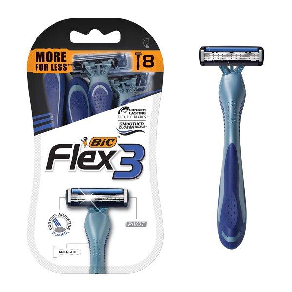 Flex 3 Titanium 男士一次性剃须刀 8个