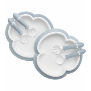 BABYBJÖRNBaby Plate, Spoon and Fork, 2 sets - Powder Blue