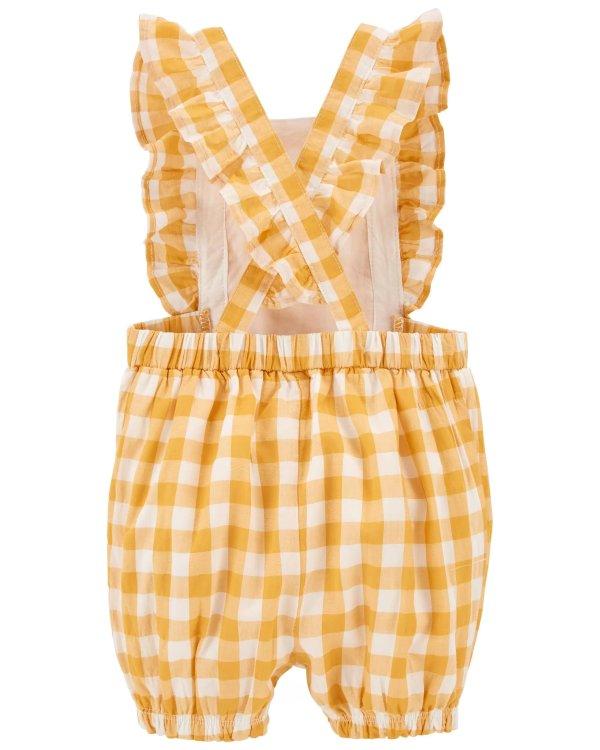 婴儿格纹背带裤