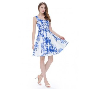 Ever-PrettyAlisa Pan Porcelain Print Fit and Flare Casual Dress