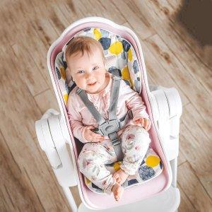 OribelCocoon High Chair (Rose Meringue) + Seat Liner Combo