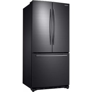 SamsungRF18HFENBSG 33 Inch Counter Depth French Door Refrigerator with Twin Cooling, Filtered Icemaker, Power Freeze, Power Cool, 17.5 cu. ft. Capacity, Tempered Glass Shelving, Gallon Door Storage, Surround Air Flow and LED Lighting: Black Stainless Steel