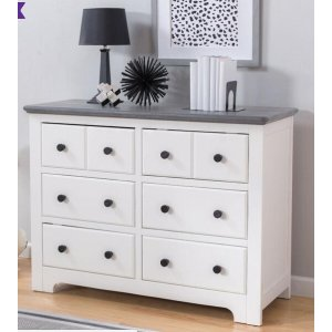DELTADelta Children Providence 6 Drawer Dresser - White and Textured Grey