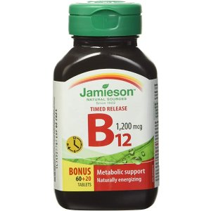 Jamieson官网售价$13.99B12维生素 1,200 mcg, 80片
