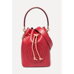 FendiMon Tresor perforated leather bucket bag