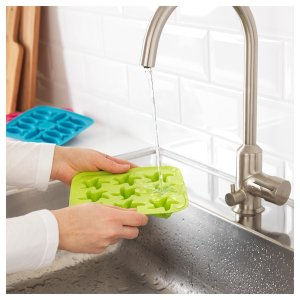 PLASTIS Ice cube tray - green/pink, turquoise - IKEA