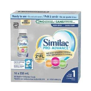 $41.78包邮(原价$49.98)史低价:Similac Pro-Advance 一段宝宝液奶 235毫升16个装 免疫健康