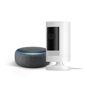 Ring Stick Up Cam Plug-In with Echo Dot
