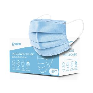 $6.39SUNCOO Disposable Face Mask Dust Particle 3-Layer Design Mask Cover with Elastic Earloops - Pack of 50