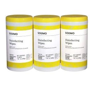 $8.99补货:Solimo 消毒湿巾 75片 x 3罐 共225片