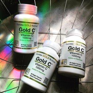 $2.7(原价$5.4) 凑单佳品Califormia Gold Nutrition 维生素C 1000mg 60粒装 每粒仅$0.04
