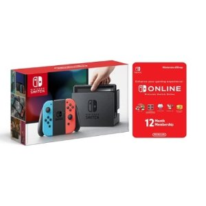 $266.95Nintendo Switch Neon Console with Joycon Wireless Controls and 12 Month Online Individual Membership