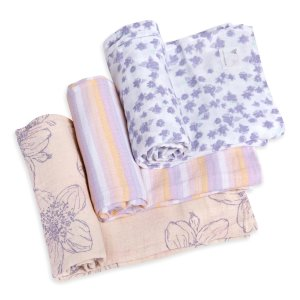 Burt's Bees BabyBlackberry Floral Watercolor Organic Muslin Swaddle Blankets 3 Pack