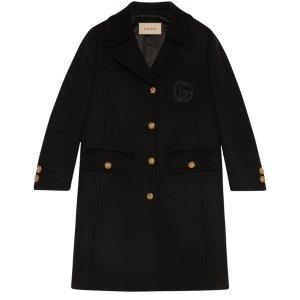 Gucci100%羊毛刺绣GG羊毛大衣
