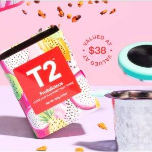 新人9折+满额赠正装水果茶+滤茶器(价值$38)T2 母亲节特惠双重奏 新品茶包、茶具都参加