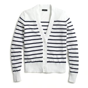 J.CrewStriped V-neck cotton cardigan sweater