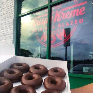 可选送餐到家服务限今天:Krispy Kreme 爆款口味巧克力酱甜甜圈限时回归