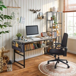 Linsy Home Computer Desk with Bookshelf and Storage Bag, 55 Inch