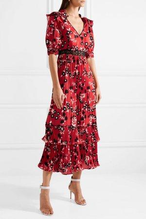 Self-Portrait   Guipure lace-trimmed floral-print crepe de chine dress   NET-A-PORTER.COM