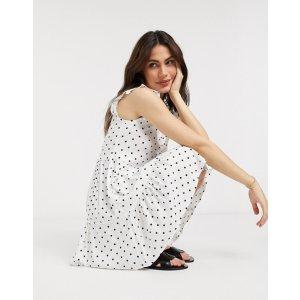 Stradivariussleeveless shirt dress in white polka dot | ASOS