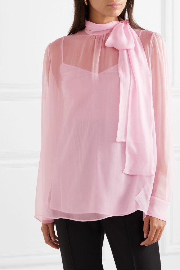 Pussy-bow chiffon 薄纱衬衫