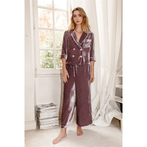 Silk-Velvet Pajama Set-Mauve Sea fog