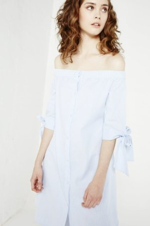 English Factory Off-The-Shoulder Dress With Tie Sleeves
