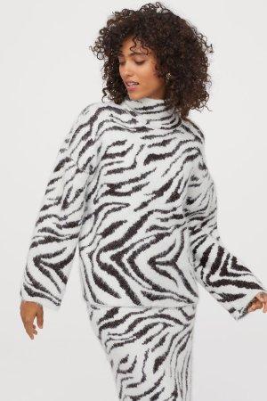 Knit Stand-up Collar Sweater - White/zebra print - Ladies   H&M US