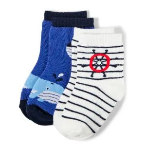 GymboreeBoys Whale And Striped Sailor Midi Socks 2-Pack - All Aboard