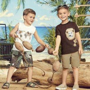 5折起+包邮 狮子T恤$23折扣升级:Gymboree 男娃的丛林系列衣衣 透气亚麻衬衫$25