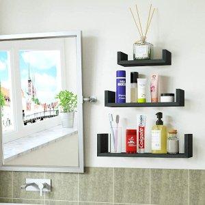 SRIWATANA Floating Shelves Wall Mounted, Solid Wood Wall Shelves, Weathered Black