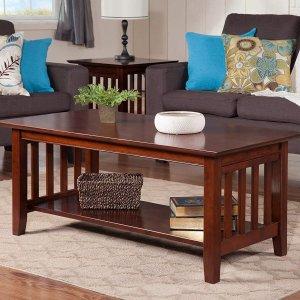 $105.07(原价$433.55)史低价:Atlantic Furniture 实木茶几/咖啡桌