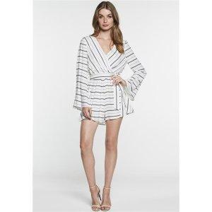 Bardot黑白条纹连衣裙长袖