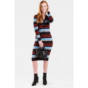 Francesca'sKenley Striped Button Front Midi Dress