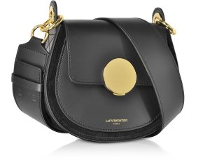 Le Parmentier Black Yucca Suede and Leather Shoulder Bag at FORZIERI