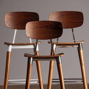 独家:Industry West 木质+金属餐椅 多色可选