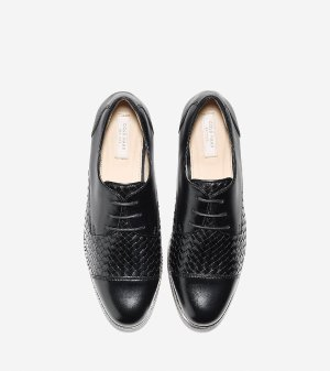 Women's Jagger Grand Weave Oxford in Black Leather | Cole Haan US