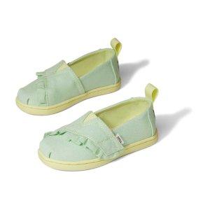 Toms儿童荷叶边帆布鞋
