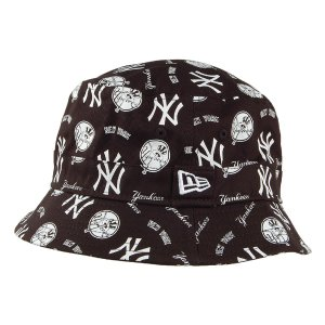 New Era New York Yankees All Over Print Bucket Hat - Black-White