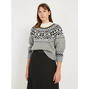 Fair Isle Wool-Blend Sweater - Grey